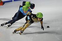 SCHAATSEN: DORDRECHT: Sportboulevard, Korean Air ISU World Cup Finale, 11-02-2012, Daisuke Uemura JPN (48), Simon Cho USA (83), ©foto: Martin de Jong