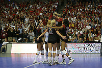 16 December 2006: Stanford Cardinal Jessica Fishburn, Cynthia Barboza, Bryn Kehoe, Erin Waller, Foluke Akinradewo, and Kristin Richards during Stanford's 30-27, 26-30, 28-30, 27-30 loss against the Nebraska Huskers in the 2006 NCAA Division I Women's Volleyball Final Four Championship match at the Qwest Center in Omaha, NE.