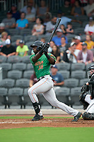 Down East Wood Ducks Sherten Apostel (38) at bat during a Carolina League game against the Fayetteville Woodpeckers on August 13, 2019 at SEGRA Stadium in Fayetteville, North Carolina.  Fayetteville defeated Down East 5-3.  (Mike Janes/Four Seam Images)