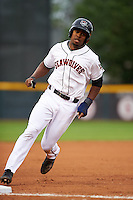Erie Seawolves outfielder Wynton Bernard (36) running the bases during a game against the Richmond Flying Squirrels on May 19, 2015 at Jerry Uht Park in Erie, Pennsylvania.  Richmond defeated Erie 8-5.  (Mike Janes/Four Seam Images)