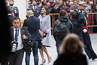 Kings of Spain, King Felipe VI of Spain and Queen Letizia of Spain delivers the Cervantes prize for literature in Spanish to the Uruguayan writer Ida Vitale at the Paraninfo of the Alcala University in the World Heritage City of Alcala de Henares near Madrid on April 23, 2019.