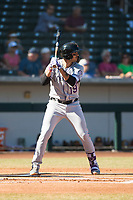 Salt River Rafters designated hitter Josh Fuentes (19), of the Colorado Rockies organization, at bat during an Arizona Fall League game against the Mesa Solar Sox at Sloan Park on November 9, 2018 in Mesa, Arizona. Mesa defeated Salt River 5-4. (Zachary Lucy/Four Seam Images)