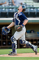 Toledo Mud Hens catcher Bryan Holaday #2 tracks a foul pop fly against the Charlotte Knights at Knights Stadium on May 7, 2012 in Fort Mill, South Carolina.  (Brian Westerholt/Four Seam Images)