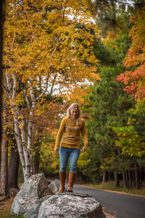 A fall hike along Lake Supeiror at Presque Isle Park, Marquette, Michigan.
