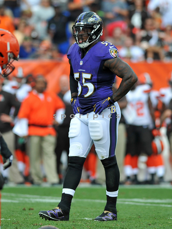 CLEVELAND, OH - JULY 18, 2016: Linebacker Terrell Suggs #55 of the Baltimore Ravens stands on the field in the second quarter of a game against the Cleveland Browns on July 18, 2016 at FirstEnergy Stadium in Cleveland, Ohio. Baltimore won 25-20. (Photo by: 2017 Nick Cammett/Diamond Images)  *** Local Caption *** Terrell Suggs(SPORTPICS)