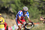 Polka Dot Jersey Luis Angel Mat&eacute; (ESP) Cofidis on the slopes of Sierra de la Alfaguara near the finish of Stage 4 of the La Vuelta 2018, running 162km from Velez-Malaga to Alfacar, Sierra de la Alfaguara, Andalucia, Spain. 28th August 2018.<br /> Picture: Eoin Clarke   Cyclefile<br /> <br /> <br /> All photos usage must carry mandatory copyright credit (&copy; Cyclefile   Eoin Clarke)
