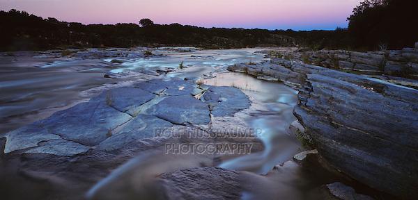 Pedernales River at dusk, Pedernales Falls State Park,Texas, USA