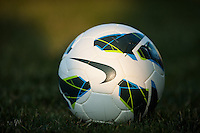 A Nike soccer ball. The Western New York Flash defeated Sky Blue FC 3-0 during a National Women's Soccer League (NWSL) match at Yurcak Field in Piscataway, NJ, on June 8, 2013.