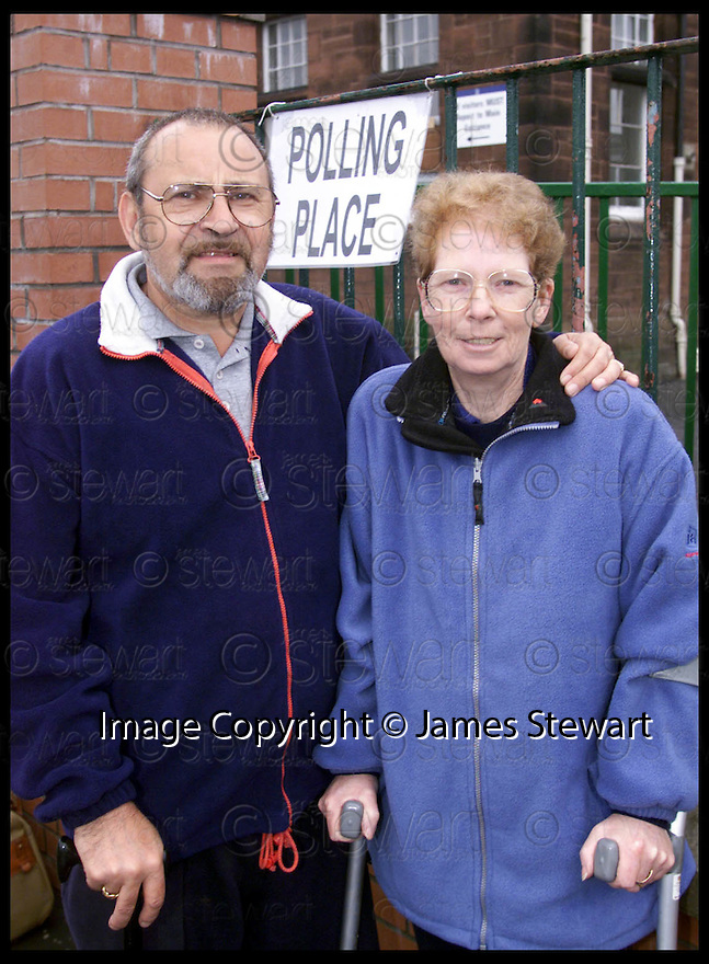 6th May 99                        Copyright Pic : James Stewart .Ref : 990217                           .File Name : stewart03-falkirk voters                        .ROBERT AND BETTY O'DONNELL VOTERS FROM FALKIRK.......Payments to :-.James Stewart Photo Agency, Stewart House, Stewart Road, Falkirk. FK2 7AS      Vat Reg No. 607 6932 25.Office : 01324 630007        Mobile : 0421 416997.E-mail : JSpics@aol.com.If you require further information then contact Jim Stewart on any of the numbers above.........