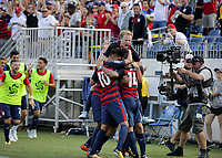 Nashville, TN - Saturday July 08, 2017: Dom Dwyer scores a goal during a 2017 Gold Cup match between the men's national teams of the United States (USA) and Panama (PAN) at Nissan Stadium.