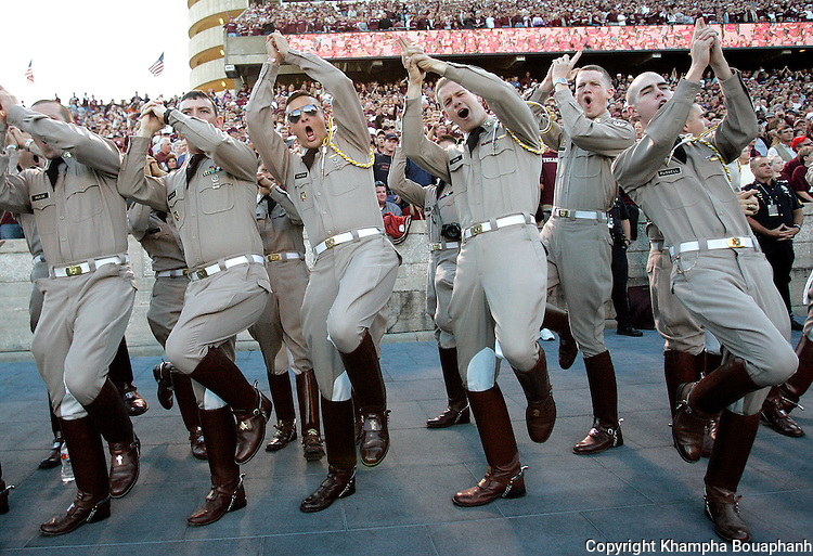 Texas A&M cadets gesture during a college football game against Kansas on Saturday, October 27, 2007 in College Station.  (photo by Khampha Bouaphanh)