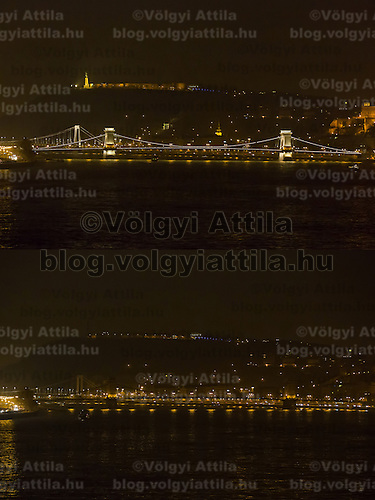 Combination photo of the Chain Bridge taken before (above) and after (below) the lights went off during the Earth Hour in Budapest, Hungary on March 23, 2013. ATTILA VOLGYI