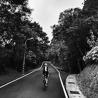 Cycling through the narrow lanes of Yangmingshan National Park, near Taipei, Taiwan.