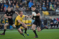 All Blacks' Beauden Barrett in action during the All Blacks v Wallabies. The Rugby Championship &amp; Bledisloe Cup at Westpac Stadium, Wellington, New Zealand on Saturday 27 August 2016.<br /> Photo by Masanori Udagawa. <br /> www.photowellington.photoshelter.com.