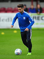 Preston North End's Sean Maguire during the pre-match warm-up <br /> <br /> Photographer Kevin Barnes/CameraSport<br /> <br /> The Carabao Cup - Accrington Stanley v Preston North End - Tuesday 8th August 2017 - Crown Ground - Accrington<br />  <br /> World Copyright &copy; 2017 CameraSport. All rights reserved. 43 Linden Ave. Countesthorpe. Leicester. England. LE8 5PG - Tel: +44 (0) 116 277 4147 - admin@camerasport.com - www.camerasport.com