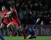 29th September 2017, RDS Arena, Dublin, Ireland; Guinness Pro14 Rugby, Leinster Rugby versus Edinburgh; James Johnstone (Edinburgh) gets away from Noel Reid (Leinster)
