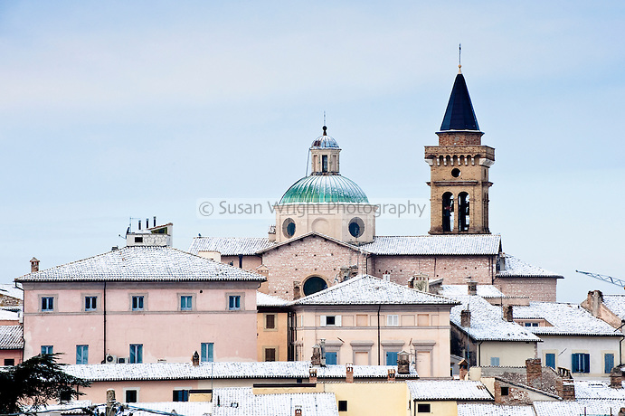 Snow in the medieval village of Trevi, in the province of Perugia in Umbria, Italy
