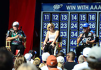 Sept. 22, 2012; Ennis, TX, USA: NHRA funny car drivers (L-R) John Force, Courtney Force and Robert Hight during qualifying for the Fall Nationals at the Texas Motorplex. Mandatory Credit: Mark J. Rebilas-