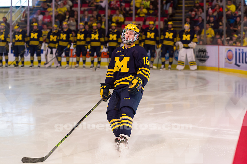 The University of Michigan ice hockey team defeats Michigan Tech University,4-2,in the championship game of the Great Lakes Invitational at Joe Louis in Detroit, MI on December 30, 2015.