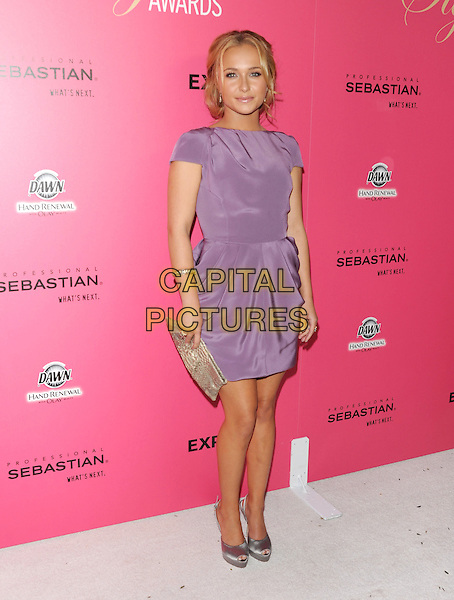 HAYDEN PANETTIERE .at The 6th Annual Hollywood Style Awards held at The Armand Hammer Museum in Los Angeles, California, USA, October 11th 2009                                                                   full length purple dress grey gray silver peep toe shoes clutch bag gold .CAP/DVS.©DVS/RockinExposures/Capital Pictures.