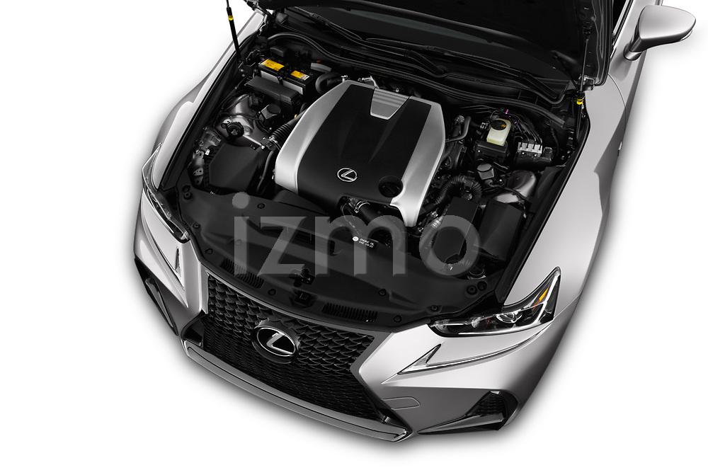 Car Stock 2017 Lexus IS 350 4 Door Sedan Engine  high angle detail view
