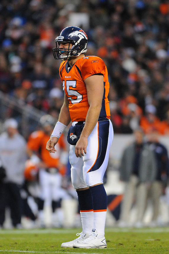14 NOVEMBER 2010:  Broncos quarterback Tim Tebow  during a regular season National Football League game between the Kansas City Chiefs and the Denver Broncos at Invesco Field at Mile High in Denver, Colorado. The Broncos beat the Chiefs 49-29.