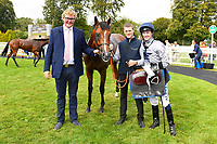 Connections of Headland in the winners enclosure after winning The Irish Yearling Sales Nursery during the Bathwick Tyres & EBF Race Day at Salisbury Racecourse on 6th September 2018