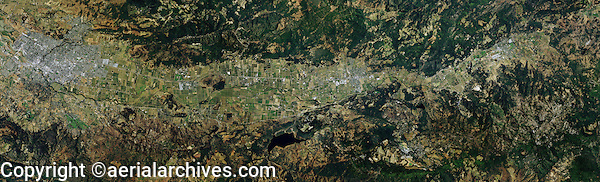 aerial photo map Napa Valley, California from the city of Napa to Calistoga