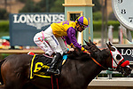ARCADIA, CA  JUNE 16: #6 Ollie's Candy, ridden by Kent Desormeaux, edges out #1 Thirteen Squared ridden by Tyler Baze, to win the Summertime Oaks (Grade ll) on June 16, 2018 at Santa Anita Park in Arcadia, CA.  . (Photo by Casey Phillips/Eclipse Sportswire/Getty Images)