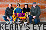 The Baily Cup winner Plenty to Ponder at the second day of the Kingdom Cup Coursing at Ballybeggan Racecourse on Saturday Pictured Niall Roche, Christy Flaherty, Sean Flaherty,(owner) Seamus Roche(Owner) from Tralee and Lixnaw