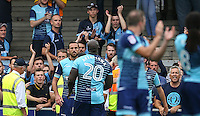 Certain parts of theWycombe supporters let there feelings known to Paul Hayes of Wycombe Wanderers and teammates during the Sky Bet League 2 match between Wycombe Wanderers and Colchester United at Adams Park, High Wycombe, England on 27 August 2016. Photo by Andy Rowland.