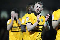 Dan Butler of Newport County applauds the fans at the final whistle during the Sky Bet League Two Play-off Semi Final: First Leg match between Newport County and Mansfield Town at Rodney Parade in Newport, Wales, UK.  Thursday 09 May 2019