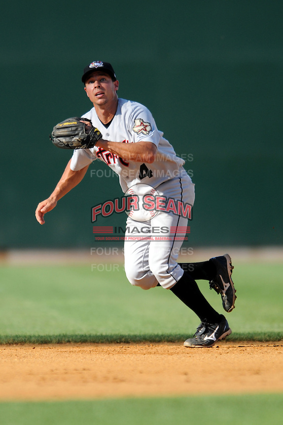 Tri-City Valley Cats shortstop Joe Sclafani #4   during a game versus the Lowell Spinners at LeLacheur Park In Lowell, Massachusetts on July 1, 2012.   (Ken Babbitt/Four Seam Images)