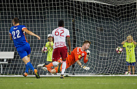Cincinnati, OH - Tuesday August 15, 2017: Austin Berry, Ryan Meara during a 2017 U.S. Open Cup game between FC Cincinnati vs New York Red Bulls at Nippert Stadium.