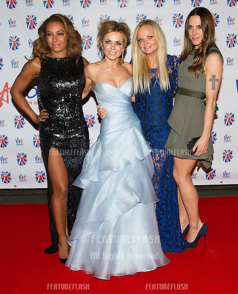 Melanie Chisholm, Melanie Brown, Geri Halliwell, and Emma Bunton at the Viva Forever Press Night, London. 11/12/2012 Picture by: Simon Burchell / Featureflash