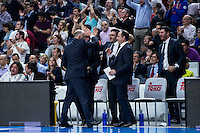 Real Madrid's coach Pablo Laso and his team celebrating the victory during Euroleague match at Barclaycard Center in Madrid. April 07, 2016. (ALTERPHOTOS/Borja B.Hojas) /NortePhoto