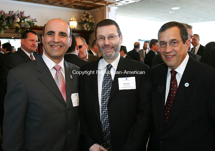 SOUTHINGTON, CT, 03/27/07- 032707BZ10- From left- Rep. Selim G. Noujaim, R-74th District; Shalom Siegfried, v.p. Yeshiva Gedolah of Waterbury; Stephen R. Sasala, II, President and C.E.O. Waterbury Regional Chamber; <br /> during the Waterbury Regional Chamber's 2007 Legislative Dinner at the Aqua Turf Club in Southington Tuesday night.<br /> Jamison C. Bazinet Republican-American