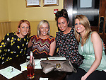 Jennifer Finnegan, Ciara McEvoy, Anne Hoey and Miranda Hodgins pictured at the St Feckins race night in the Waterside Inn. Photo: Colin Bell/pressphotos.ie
