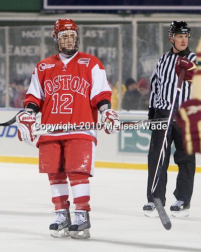 Chris Connolly (BU - 12) - The Boston University Terriers defeated the Boston College Eagles 3-2 on Friday, January 8, 2010, at Fenway Park in Boston, Massachusetts, as part of the Sun Life Frozen Fenway doubleheader.