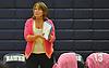 Massapequa varsity girls' volleyball head coach CarolAnn Habeeb-Kiel watches her team during a match against host Plainview JFK High School on Monday, October 19, 2015. Massapequa won 25-16, 25-8, 25-13.<br /> <br /> James Escher