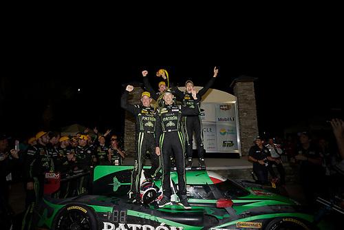 16-19 March, 2016, Sebring, Florida, USA<br /> Winner , 2, Honda HPD, Ligier JS P2, P, Scott Sharp, Ed Brown, Joannes van Overbeek, Luis Felipe Derani celebrate in victory lane<br /> ©2016, Michael L. Levitt<br /> LAT Photo USA