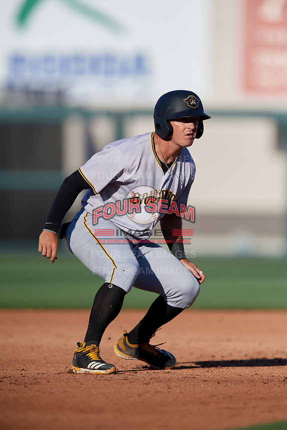 Bradenton Marauders third baseman Hunter Owen (13) leads off second base during the first game of a doubleheader against the Lakeland Flying Tigers on April 11, 2018 at Publix Field at Joker Marchant Stadium in Lakeland, Florida.  Lakeland defeated Bradenton 5-4.  (Mike Janes/Four Seam Images)