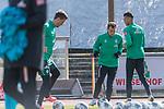 12.03.2020, Trainingsgelaende am wohninvest WESERSTADION,, Bremen, GER, 1.FBL, Werder Bremen Training, im Bild<br /> <br /> Sebastian Langkamp (Werder Bremen #15)<br /> Philipp Bargfrede (Werder Bremen #44)<br /> Davie Selke (Neuzugang SV Werder Bremen #09)<br /> <br /> Foto © nordphoto / Kokenge
