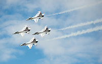 The United States Air Force's Thunderbirds perform at Joint Base Elmendorf Richardson during the Arctic Thunder 2014 air show.