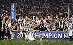 20 November 2011: The Los Angeles Galaxy pose with the Philip F. Anschutz Trophy with Omar Gonzalez in front of the boards. The Los Angeles Galaxy defeated the Houston Dynamo 1-0 at the Home Depot Center in Carson, CA in MLS Cup 2011, Major League Soccer's championship game.