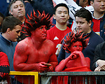 Manchester Utd fans in body paint during the Europa League Semi Final 2nd Leg match at Old Trafford Stadium, Manchester. Picture date: May 11th 2017. Pic credit should read: Simon Bellis/Sportimage