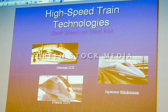Some slides shown by Rod Diridon of the Mineta Transportation Institute. He is a member of the California High Speed Rail Authority Board. This forum entitled Strategies for a Sustainable Santa Clara County: Developing Goals and Planning Tools was held at the Silicon Valley Community Foundation (SVCF) in Mountain View, CA from 9 AM to Noon on 1/25/2008. The event was sponsored by Leagues of Women Voters of Santa Clara County and Office of County Supervisor Liz Kniss.