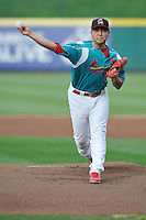 Richard Castillo (12) of the Springfield Cardinals pitches against the Corpus Christi Hooks at Hammons Field on August 19, 2012 in Springfield, Missouri.(Dennis Hubbard/Four Seam Images)
