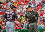 11 September 2016: MLB Umpire Chris Segal shakes hands with Washington Nationals catcher and Baseball America top prospect Pedro Severino during a game against the Philadelphia Phillies at Nationals Park in Washington, DC. The Nationals edged out the Phillies 3-2 to take the rubber match of their 3-game series. Mandatory Credit: Ed Wolfstein Photo *** RAW (NEF) Image File Available ***