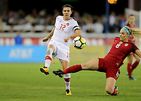 San Jose, CA - Sunday November 12, 2017: Christine Sinclair, Julie Ertz during an International friendly match between the Women's National teams of the United States (USA) and Canada (CAN) at Avaya Stadium.